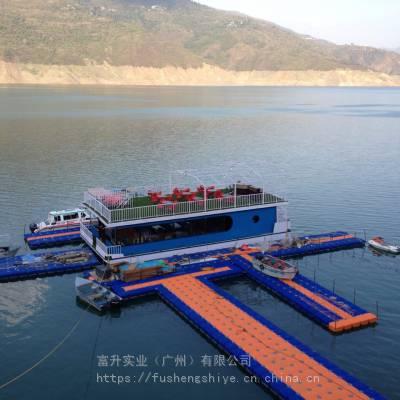 供应大浮力塑料水上浮台 塑料浮桶码头 游艇码头浮箱平台 质优价廉K