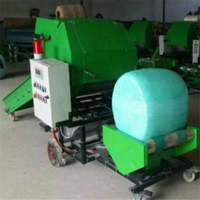 热销秸秆青贮打捆包膜机 玉米秸秆打包机 全自动打捆包膜一体机