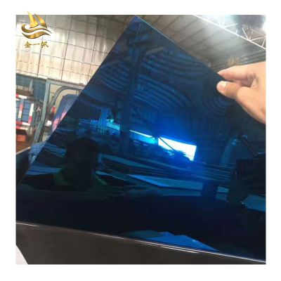 佛山金一帆宝石蓝镜面板 彩色不锈钢板定制 豪华会所装修装饰板 真空电镀