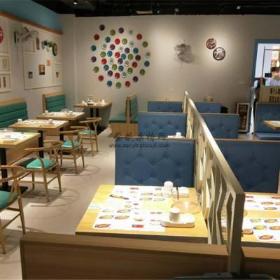 美食馆餐桌椅子卡座沙发定做,美食店家具供应商