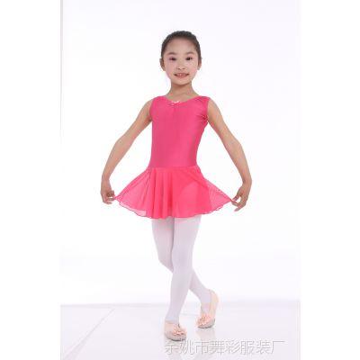 夏季新款连体雪纺裙摆体操服带蝴蝶结芭蕾练功服舞蹈裙可批发印字