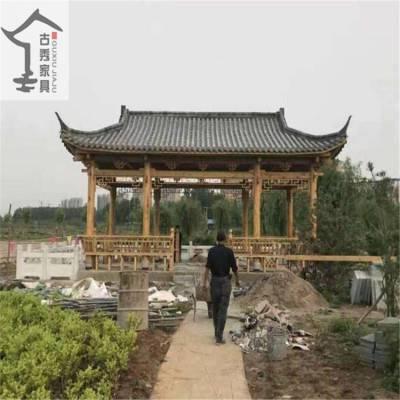 古秀直销 防腐木廊桥 中式仿古回廊 木制景观长廊设计