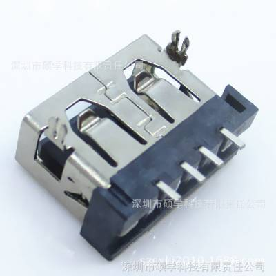 connector usb type-A/A母90度短体10.6后两脚插板SMT直口USB母座