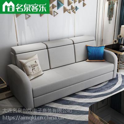 名泉客乐F111-12蓝色三人直条沙发大连布艺沙发软包家具