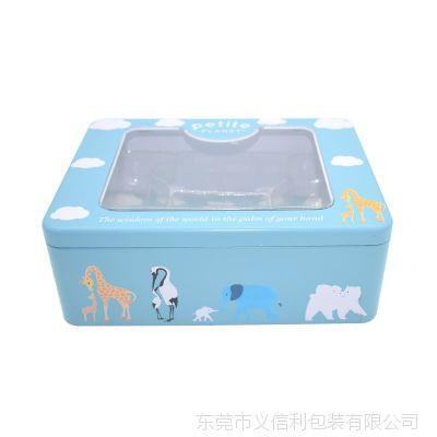 东莞马口铁盒厂家 透明开窗饼干食品铁盒定 精美食品级翻盖收纳盒