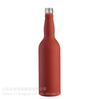 定制500ml透明白酒玻璃瓶 软木塞洋酒瓶 塑料盖子饮料瓶 250ml磨砂酒瓶 玻璃罐