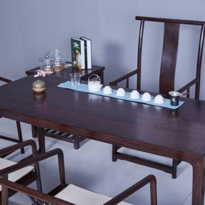黑檀大板功夫茶桌价格表新中式书桌古典餐桌
