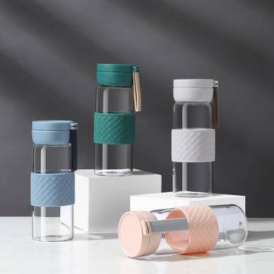 厂家直销耐热玻璃杯 便携带盖学生杯 日用百货果汁杯子一件代发