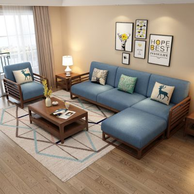 北欧简约实木框架沙发 客厅小户型白蜡木 布艺沙发新式客厅家具