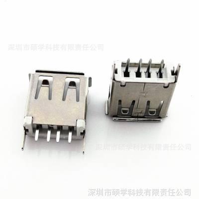 专业生产A母180°立式直插 USB母座加长13.7mm 直脚卷边USB连接器