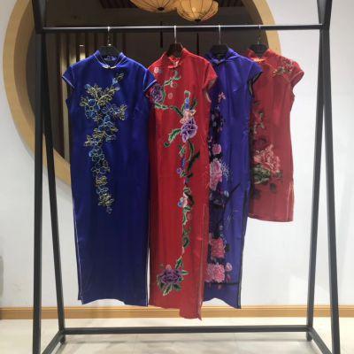 马如龙旗袍中国风19新款女装真丝品牌夏装原单*** 折扣走份