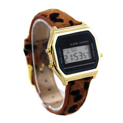 速卖通跨境厂家供应新款时尚豹纹皮带电子手表