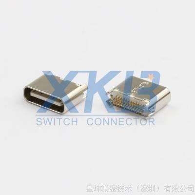 双层usb母座 直插短体 180度直口母头 usb3.1af插座 直立式连接器