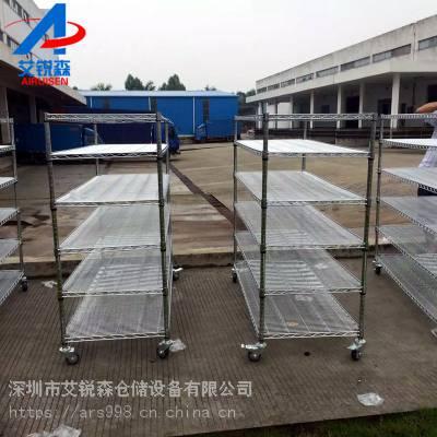 电子仓库金属镀铬储物架可带轮镀铬货架批发厂家