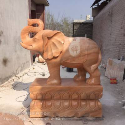 招财转运晚霞红石象_园林景观装饰石象_大型大象石雕批发