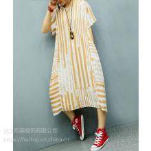 麻依者原创品牌219年夏季新款长款修身棉麻连衣裙