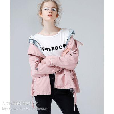 女装折扣走份厂家唯简19年春装新款风衣外套