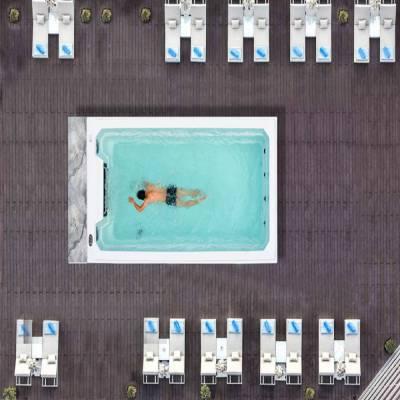 江苏南京奕华卫浴新款5.5米智能恒温豪华家用多人水疗spa按摩池游不到边游泳池