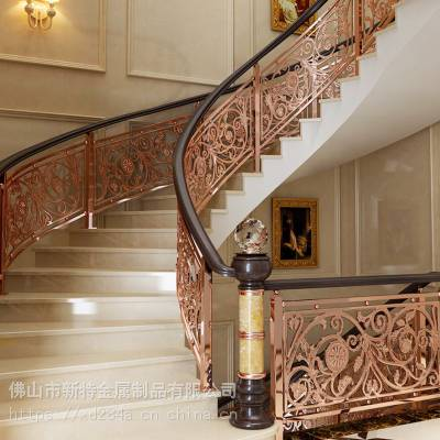 这些铜艺楼梯护栏 铝艺雕花护栏让你的家更有档次!