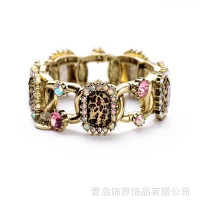 wish跨境 青岛欧美时尚饰品批发 复古质感水晶豹纹女士手链