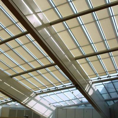 FCS天棚帘 电动天棚帘免费测量尺寸 上海舒朗 折叠式天棚帘 室内天棚帘