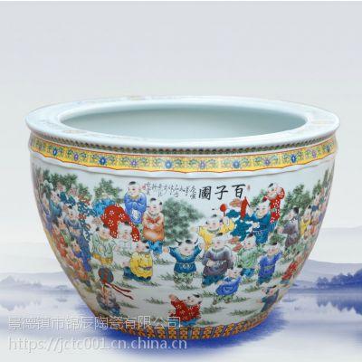 彩绘陶瓷大缸 庭院摆设水缸鱼缸定制