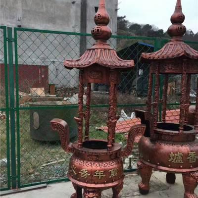 室外香炉寺庙烧纸炉宗祠景区铸铜铁四根柱仿古圆形带盖宝鼎焚经炉