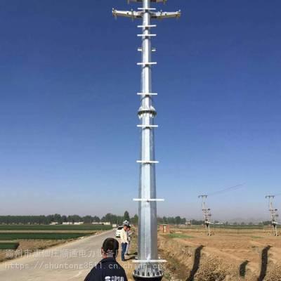 黑龙江省35kv输电钢杆生产厂家 35kv输电钢管杆基础打桩 霸州市顺通电力设备厂