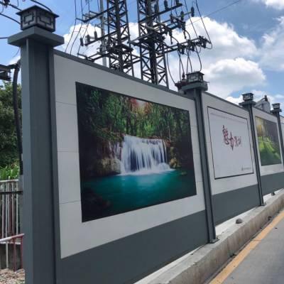 楼盘施工安全围蔽C款工字钢围挡 简易快装款钢板围栏 美观可喷绘广告使用寿命长