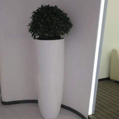 北欧圆形大型玻璃钢花盆 简约落地花器室内户外客厅酒店装饰花瓶