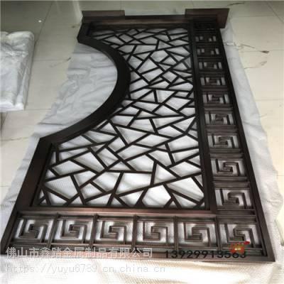 酒店金属屏风 拉丝红古铜不锈钢花格 新中式不锈钢隔断