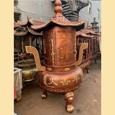 寺庙铸铁烧纸炉圆形经炉肚径1.2米佛教道教宗祠景区佛堂道场焚化