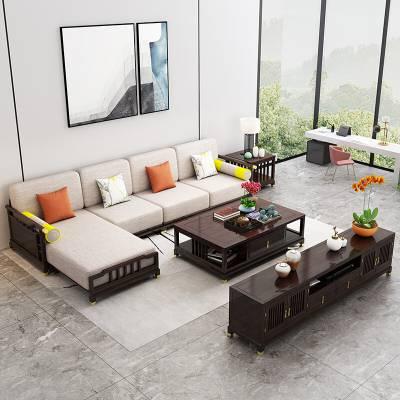 新中式客厅实木沙发大小户型贵妃位转角沙发组合中式禅意家具