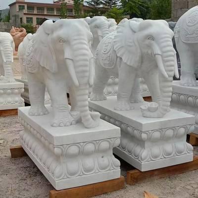 曲阳石雕翰铭雕塑石雕大象一对 家用汉白玉大象门口石雕摆件石象六款大理石石材象