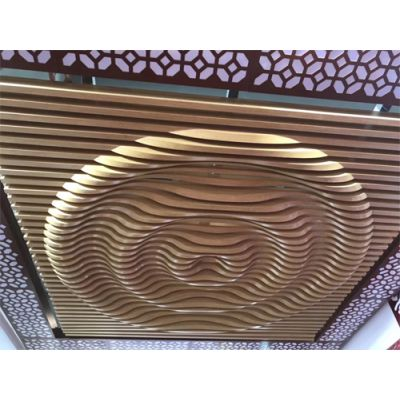木纹弧形铝方通吊顶-接待大厅天花装饰的