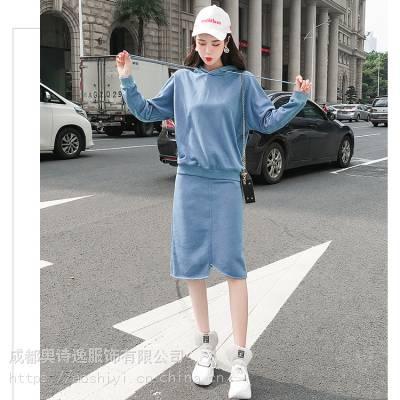 定制2019秋季新款时尚包臀半身裙子+连帽卫衣外套两件套时尚套装女装