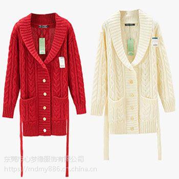 外贸复古精品尖货学院风外套女装立体浮花纯羊毛衣针织开衫厚毛衣