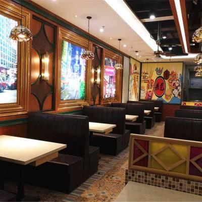 九龙茶室卡座沙发定做,皮革软包茶餐厅沙发直销商