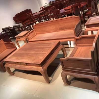 花梨木客厅沙发家具 缅甸花梨6件套沙发一套多少钱
