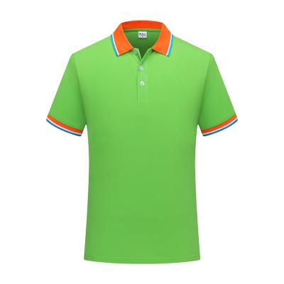 ZHIT-108605贵州广告衫定做果绿色CVC60%棉珠地布200克加厚拼色翻领短袖休闲POLO衫