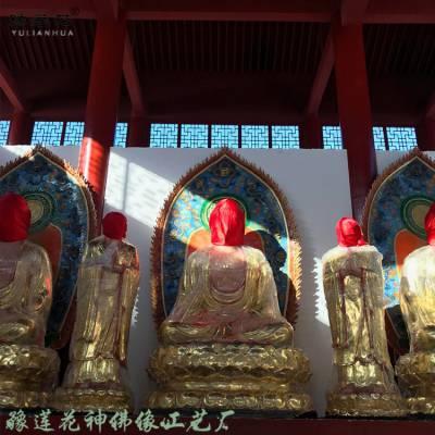 豫莲花东方三圣佛像厂家 寺庙供奉佛像药师三尊 琉璃药师像 日光菩萨月光菩萨像高清图片