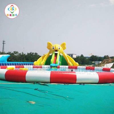 江西九江室外大型移动水乐园,充气水滑梯水上闯关设备一应俱全