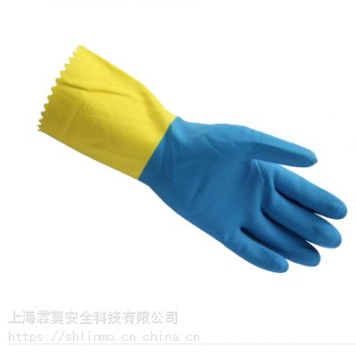 抑菌型天然乳胶防化手套弱腐蚀化学品手套