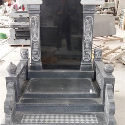 1.5米深芝麻黑G654#墓碑 家族豪华套型火葬碑 适合陵园墓园内使用