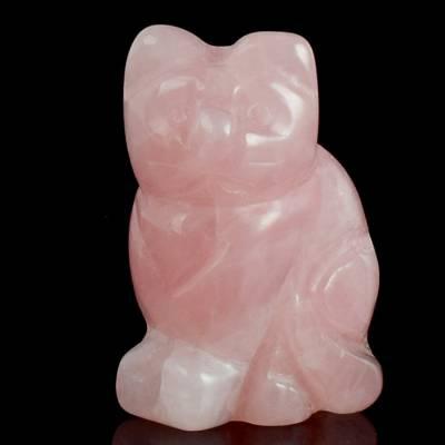 天然水晶小猫动物摆件,粉晶纯手工雕刻小猫工艺品,厂家提供定做