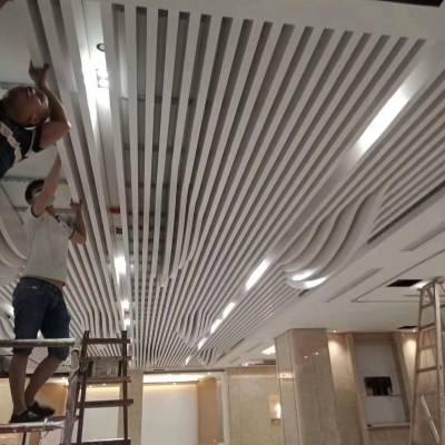 建筑外墙弧形铝方通装饰铝天花|室外造型铝格栅铝幕墙