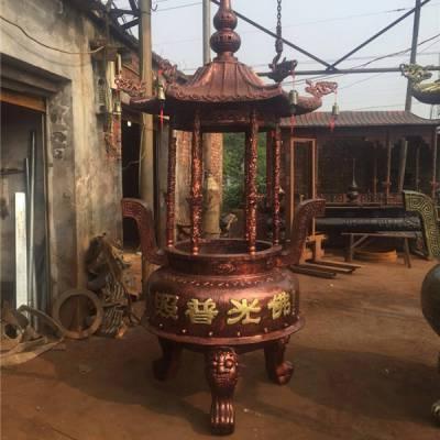 定制?寺庙香炉铸铁香炉圆形六龙柱香炉铸铜道教铁香炉佛教寺院大型香炉