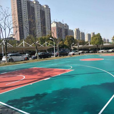 水性硅PU篮球场材料厂家 硅PU面层材料 硅PU篮球场地面施工 德朝体育