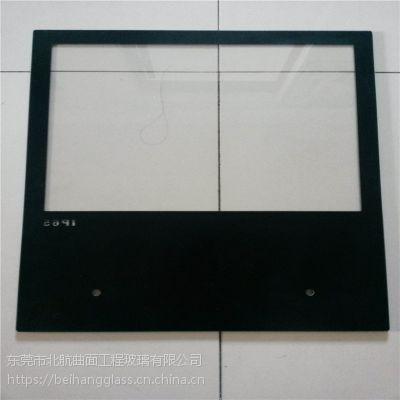 东莞4mm黑色钢化玻璃面板 低温,高温丝印显示屏玻璃边框