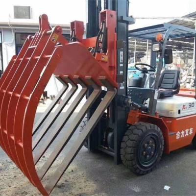 福建三明卷筒纸夹抱夹叉车出售-上海长富-二手杭州叉车3吨价格表